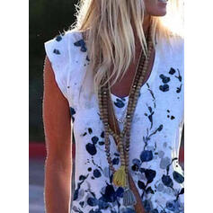 Blomster Print V-hals Korte ærmer T-shirts