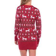 Impresión Cuello Redondo Suéter de Navidad Feo