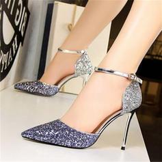 Femmes Pailletes scintillantes Talon stiletto Sandales Escarpins Bout fermé avec Paillette Semelle chaussures