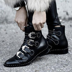 PU Low Heel Boots With Buckle shoes