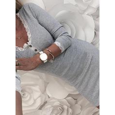 Krajka/Pevný Dlouhé rukávy Přiléhavé Délka ke kolenům Neformální Šaty