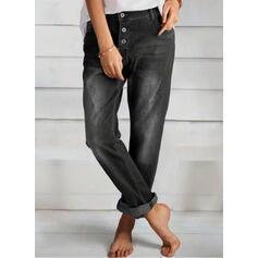 arricciato Lungo Elegante pianura Denim & Jeans