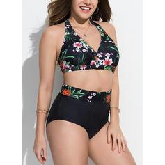 Blomstrete Halterneck Vakker Pluss størrelse Bikinier Badedrakter