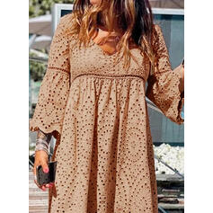Solid Long Sleeves Shift Above Knee Casual/Elegant Tunic Dresses