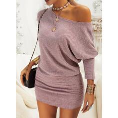 固体 長袖/バットウィングスリーブ ボディコンドレス 膝上 カジュアル ドレス