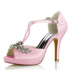 Kvinnor siden som satin Stilettklack Plattform Pumps Sandaler med Kristall