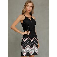 Print Sleeveless Sheath Above Knee Casual/Vacation Dresses