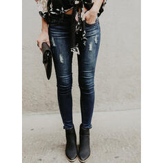 Shirred Ripped Long Elegant Sexy Denim & Jeans
