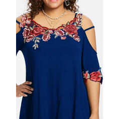 Embroidery Floral Cold Shoulder 1/2 Sleeves Plus Size Casual