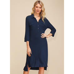 Solid 3/4 Sleeves Shift Asymmetrical Casual/Elegant Tunic Dresses