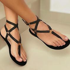 Mulheres PU Sem salto Sandálias Sem salto Peep toe Sapatos abertos Chinelos Low Top com Oca-out Cor sólida Curativo sapatos