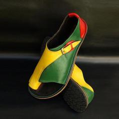 Femmes PU Talon plat Sandales Chaussures plates À bout ouvert avec Semelle chaussures