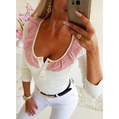 Blocchi di colore Girocollo Maniche lunghe Bottone Casuale Elegante Camicie