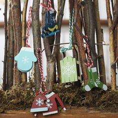 Släde Hängande Trä Julhänge Trädhängande ornament (Sats om 5)