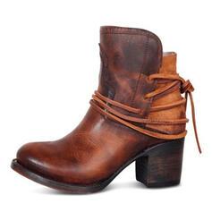 Női PU Chunky sarok Magassarkú Zárt lábujj Csizma Bokacsizma -Val Csat cipő