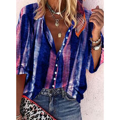 Print V-Neck 3/4 Sleeves Button Up Casual Shirt Blouses