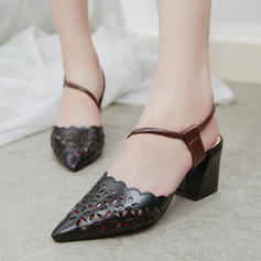 Women's PU Stiletto Heel Pumps Closed Toe With Hollow-out shoes