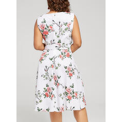 Estampado/Floral Sem mangas Evasê Casual/Elegante/Tamanho positivo Midi Vestidos
