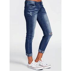 Pockets Shirred Long Solid Denim Pants