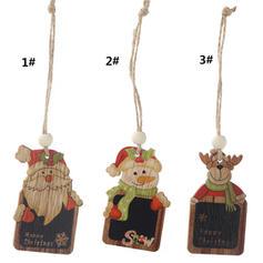 Snögubbe Ren Santa Christmas Hängande Trä Julhänge Trädhängande ornament (Set av 2)