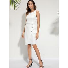 Solid Sleeveless Sheath Knee Length Casual Dresses
