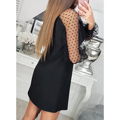 PolkaDot Long Sleeves Shift Above Knee Casual/Elegant Dresses
