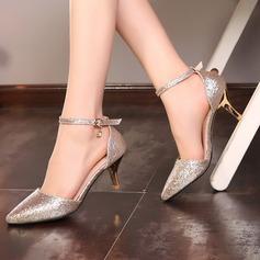Mulheres Espumante Glitter Salto agulha Bombas com Cristal Fivela sapatos