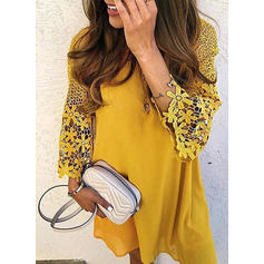 Lace/Solid Long Sleeves Shift Above Knee Casual/Elegant Tunic Dresses