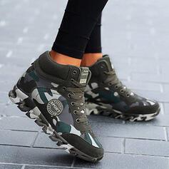 Női Valódi bőr Vászon Ékelt sarkú Csizma -Val Lace-up Splice szín cipő
