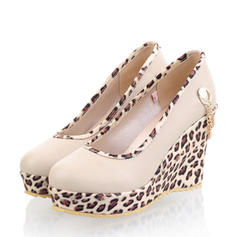Women's PU Wedge Heel Platform Closed Toe Wedges With Rhinestone shoes