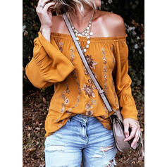 Print Floral Off the Shoulder Flare Sleeve Long Sleeves Casual Blouses