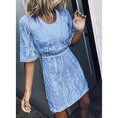 Lace/Solid 1/2 Sleeves Sheath Above Knee Casual/Elegant Dresses