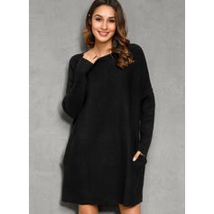 Solid Chunky knit Round Neck Casual Long Sweater Dress