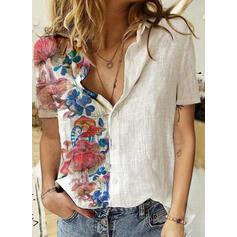 Print Floral Lapel Short Sleeves Casual Button Blouses