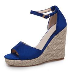 Women's Suede Wedge Heel Sandals Peep Toe With Buckle shoes