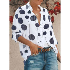 PolkaDot Lapel Long Sleeves Button Up Casual Shirt Blouses