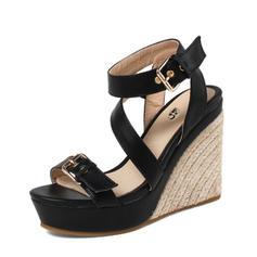 Femmes PU Talon compensé Sandales Escarpins Plateforme Compensée À bout ouvert Escarpins avec Boucle chaussures