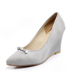 Women's Suede Wedge Heel Pumps Closed Toe Wedges With Rhinestone shoes