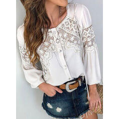 Solid Patchwork Lace Round Neck Long Sleeves Button Up Casual Blouses
