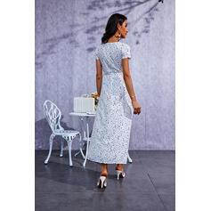 Lunares Manga Corta Vestido línea A Patinador Casual Maxi Vestidos