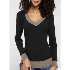 Color Block V-Neck Casual Tight Sweaters