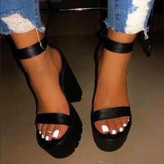 ПУ Квадратні підбори Сандалі взуття на короткій шпильці з Суцільний колір взуття