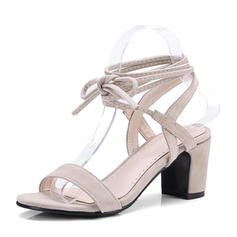 Women's Suede Chunky Heel Sandals Pumps Peep Toe Slingbacks With Lace-up shoes