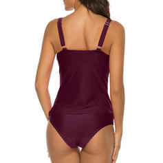 Solid Color Cross Strap Sexy Tankinis Swimsuits
