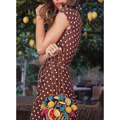 PolkaDot Short Sleeves A-line Maxi Casual/Vacation Dresses