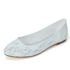 Frauen Spitze Flascher Absatz Geschlossene Zehe Flache Schuhe