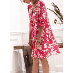 Print/Floral 3/4 Sleeves Shift Knee Length Casual Tunic Dresses