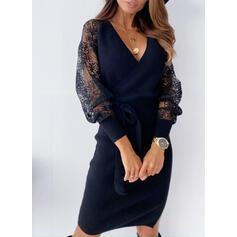 Koronka/Jednolita Długie rękawy Bodycon Długośc do kolan Mała czarna/Casual Ołówkowa Sukienki