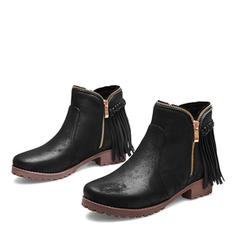 Mulheres Couro Salto robusto Botas Bota no tornozelo com Zíper Franja sapatos