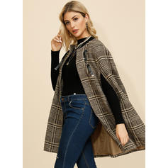 Polyester 1/2 Sleeves Plaid Wide-Waisted Coats Capes